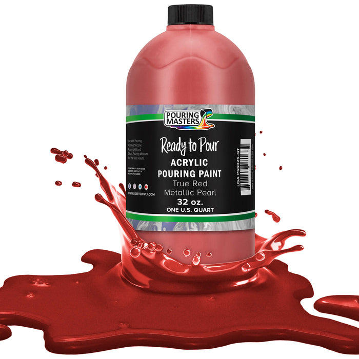 True Red Metallic Pearl Acrylic Ready to Pour Pouring Paint Premium 32-Ounce Pre-Mixed Water-Based - for Canvas, Wood, Paper, Crafts, Tile, Rocks and More
