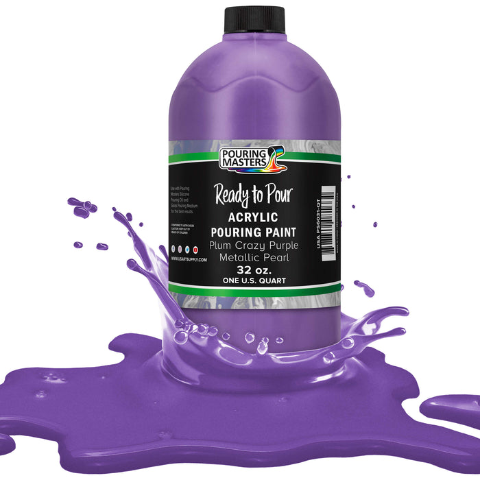 Plum Crazy Purple Metallic Pearl Acrylic Ready to Pour Pouring Paint Premium 32-Ounce Pre-Mixed Water-Based - for Canvas, Wood, Paper, Crafts, Tile, Rocks and More