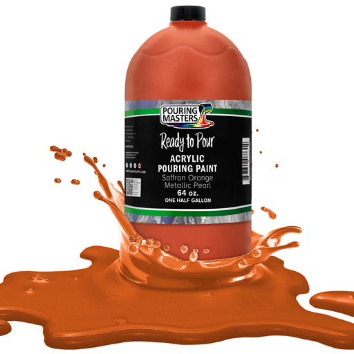 Saffron Orange Metallic Pearl Acrylic Ready to Pour Pouring Paint Premium 64-Ounce Pre-Mixed Water-Based - for Canvas, Wood, Paper, Crafts, Tile, Rocks and More