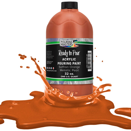 Saffron Orange Metallic Pearl Acrylic Ready to Pour Pouring Paint – Premium 32-Ounce Pre-Mixed Water-Based - for Canvas, Wood, Paper, Crafts, Tile, Rocks and More