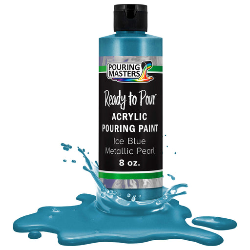 Ice Blue Metallic Pearl Acrylic Ready to Pour Pouring Paint – Premium 8-Ounce Pre-Mixed Water-Based - For Canvas, Wood, Paper, Crafts, Tile, Rocks and more