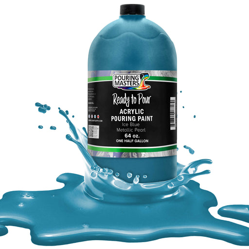 Ice Blue Metallic Pearl Acrylic Ready to Pour Pouring Paint – Premium 64-Ounce Pre-Mixed Water-Based - For Canvas, Wood, Paper, Crafts, Tile, Rocks and more