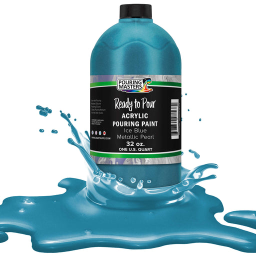 Ice Blue Metallic Pearl Acrylic Ready to Pour Pouring Paint – Premium 32-Ounce Pre-Mixed Water-Based - For Canvas, Wood, Paper, Crafts, Tile, Rocks and more