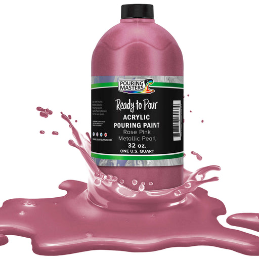 Rose Pink Metallic Pearl Acrylic Ready to Pour Pouring Paint – Premium 32-Ounce Pre-Mixed Water-Based - For Canvas, Wood, Paper, Crafts, Tile, Rocks and more
