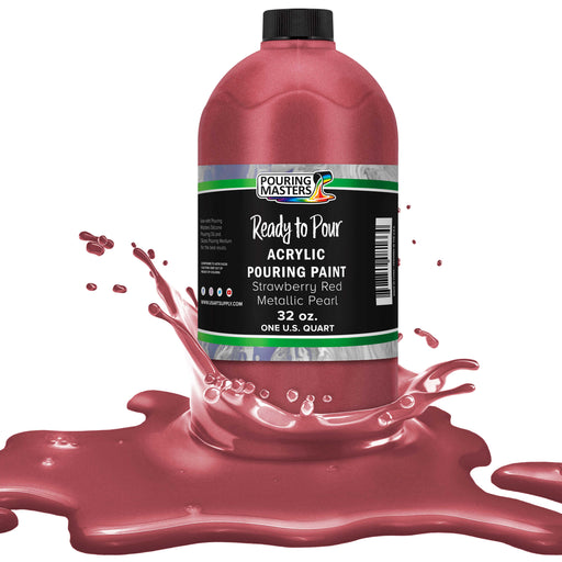 Strawberry Red Metallic Pearl Acrylic Ready to Pour Pouring Paint – Premium 32-Ounce Pre-Mixed Water-Based - For Canvas, Wood, Paper, Crafts, Tile, Rocks and more
