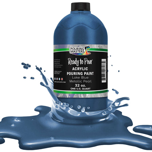 Lake Blue Metallic Pearl Acrylic Ready to Pour Pouring Paint – Premium 32-Ounce Pre-Mixed Water-Based - For Canvas, Wood, Paper, Crafts, Tile, Rocks and more
