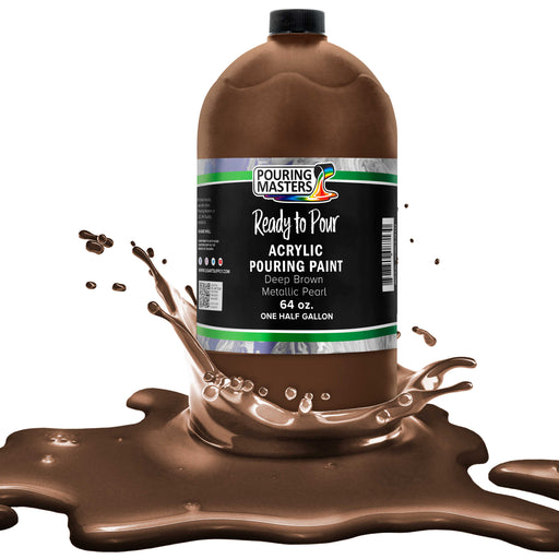 Deep Brown Metallic Pearl Acrylic Ready to Pour Pouring Paint – Premium 64-Ounce Pre-Mixed Water-Based - For Canvas, Wood, Paper, Crafts, Tile, Rocks and more