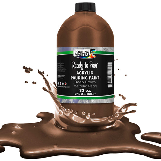 Deep Brown Metallic Pearl Acrylic Ready to Pour Pouring Paint – Premium 32-Ounce Pre-Mixed Water-Based - For Canvas, Wood, Paper, Crafts, Tile, Rocks and more