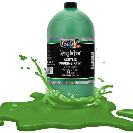 Vivid Jade Metallic Pearl Acrylic Ready to Pour Pouring Paint Premium 64-Ounce Pre-Mixed Water-Based - for Canvas, Wood, Paper, Crafts, Tile, Rocks and More