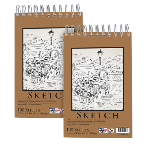 "5.5"" x 8.5"" Premium Spiral Bound Sketch Pad, Pad of 100-Sheets, 60 Pound (100gsm) (Pack of 2 Pads)"