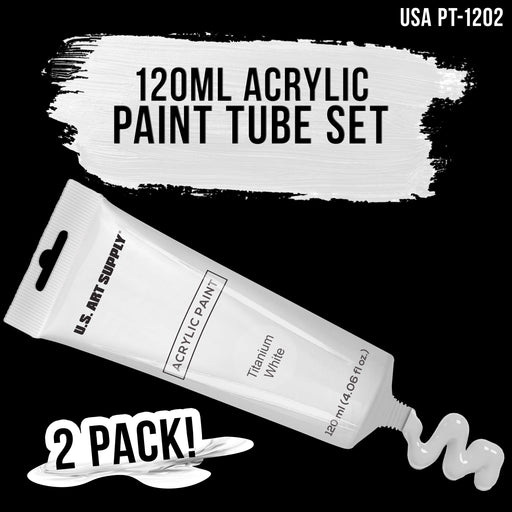 Twin-Pack-120ml Acrylic Artist Paint Tube White (2-Pack)