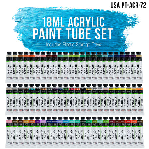 U.S. Art Supply Professional 72 Color Set of Acrylic Paint in Large 18ml Tubes - Rich Vivid Colors for Artists, Students, Beginners - Canvas Portrait Paintings