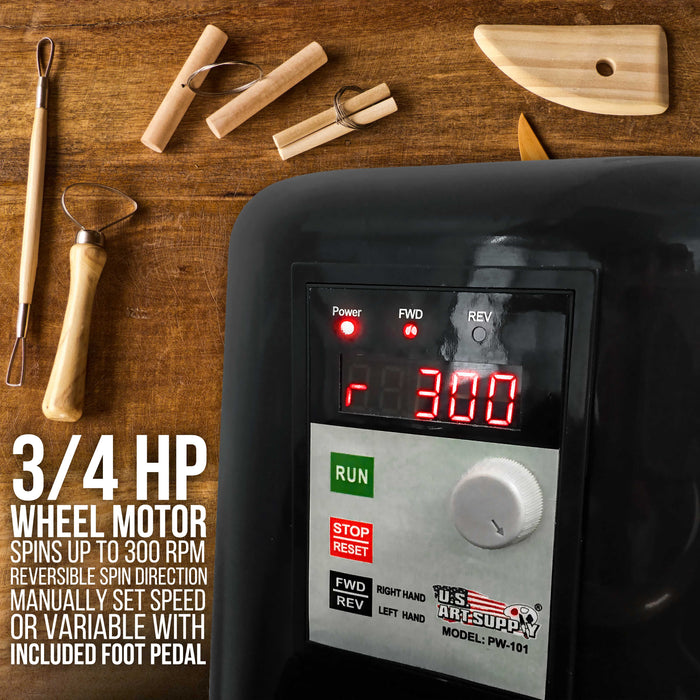 "3/4-HP Table Top Pottery Wheel with LCD Wheel Speed Display - Includes Foot Pedal and 11"" Bat - Reversible Spin Direction - Ceramics Clay Pot, Bowl, Cup, Art"