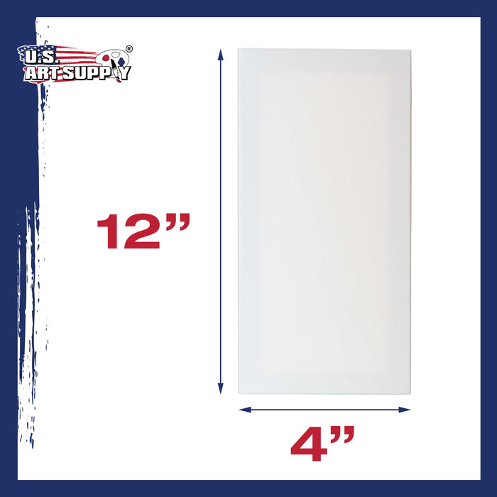 "4"" x 12"" Stretched Canvas 12-Ounce Primed 48-Pack - Professional White Blank 3/4"" Profile Heavy-Weight Gesso Acid Free Bulk Pack - Painting, Acrylic Pouring, Oil Paint"