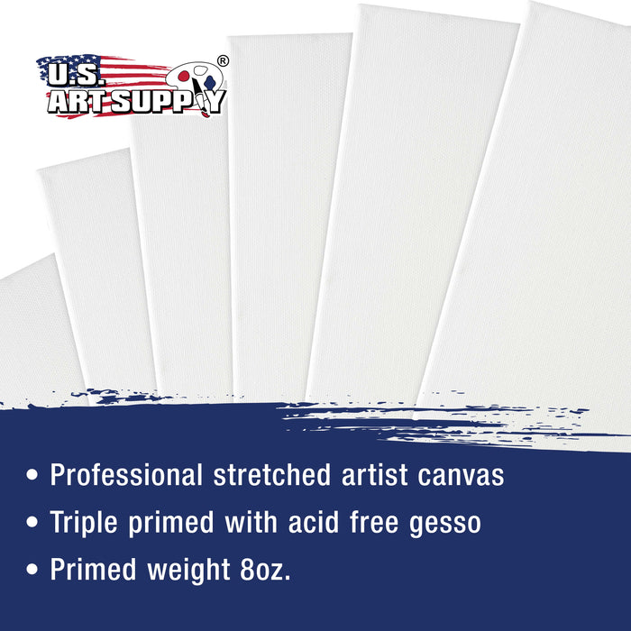 "5"" x 7"" Super Value Quality Acid Free Stretched Canvas 10-Pack - 3/4 Profile Primed Gesso"