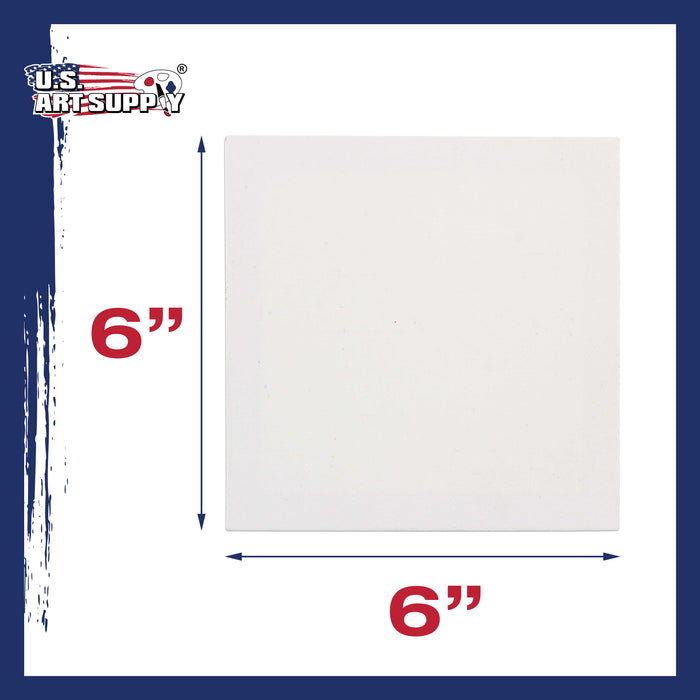 "6"" x 6"" Stretched Canvas 12-Ounce Primed 96-Pack - Professional White Blank 3/4"" Profile Heavy-Weight Gesso Acid Free Bulk Pack - Painting, Acrylic Pouring, Oil Paint"