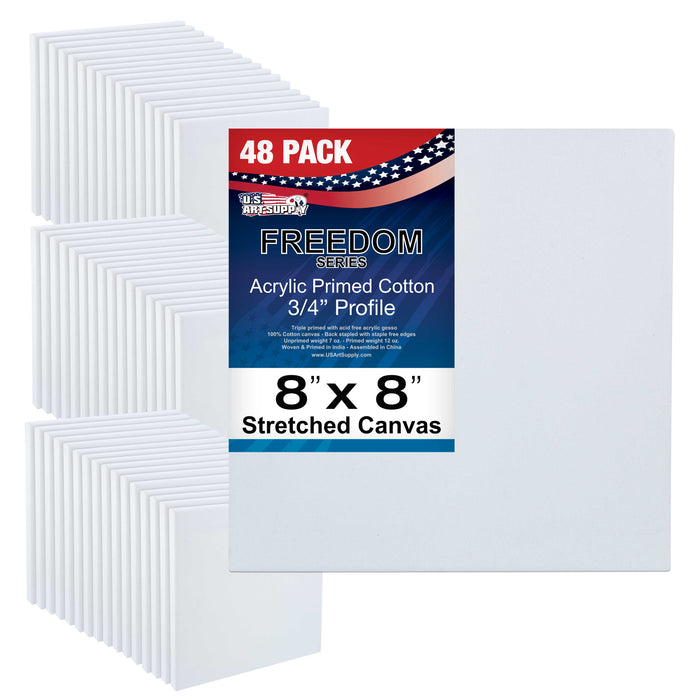 "8"" x 8"" Stretched Canvas 12-Ounce Primed 48-Pack - Professional White Blank 3/4"" Profile Heavy-Weight Gesso Acid Free Bulk Pack - Painting, Acrylic Pouring, Oil Paint"