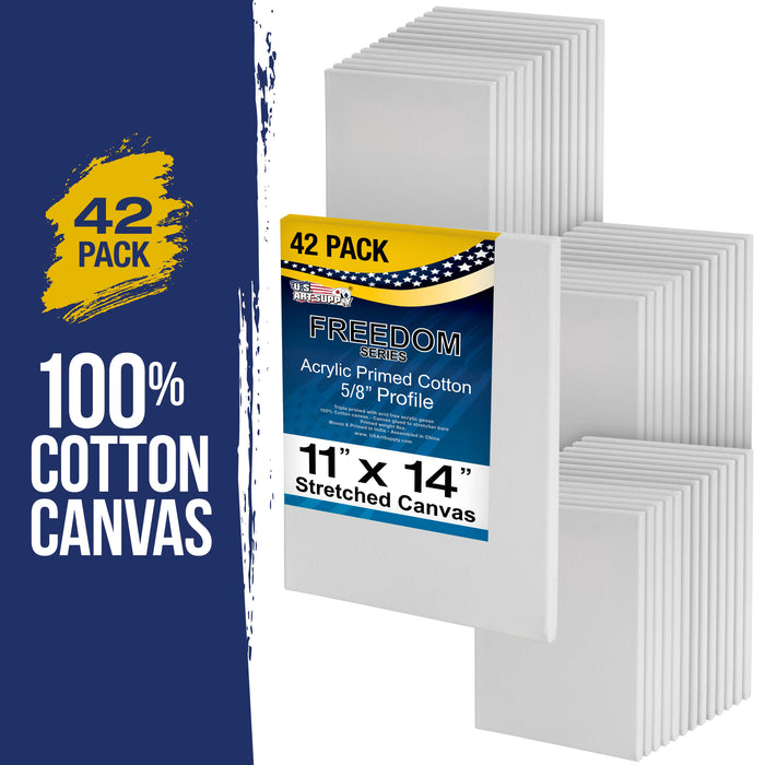 "11"" x 14"" Stretched Canvas Super Value 42-Pack - Professional White Blank 5/8"" Profile Heavy-Weight Gesso Acid Free Bulk Pack - Painting, Acrylic Pouring, Oil Paint"