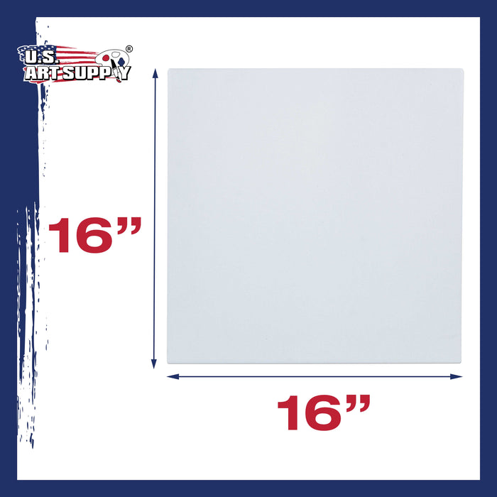 "16"" x 16"" Stretched Canvas 12-Ounce Primed 24-Pack - Professional White Blank 3/4"" Profile Heavy-Weight Gesso Acid Free Bulk Pack - Painting, Acrylic Pouring, Oil Paint"