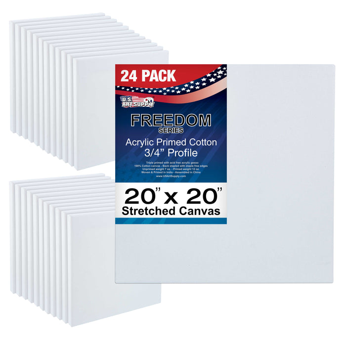 "20"" x 20"" Stretched Canvas 12-Ounce Primed 24-Pack - Professional White Blank 3/4"" Profile Heavy-Weight Gesso Acid Free Bulk Pack - Painting, Acrylic Pouring, Oil Paint"