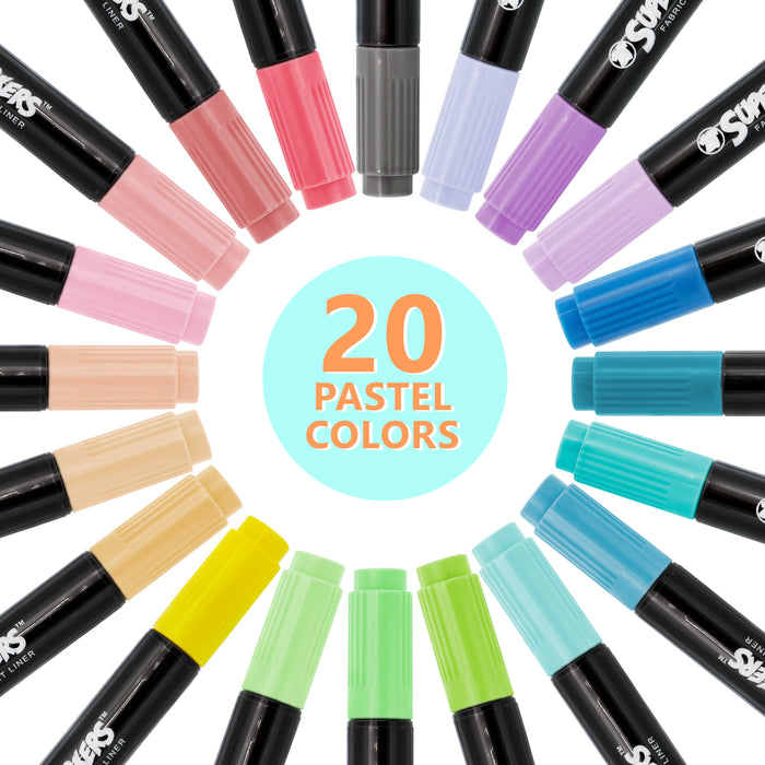40 Unique Primary & Pastel Colors Dual Tip Fabric & T-Shirt Marker Set - Double-Ended Fabric Markers with Chisel Point and Fine Point Tips - 40 Permanent Ink Vibrant and Bold Colors