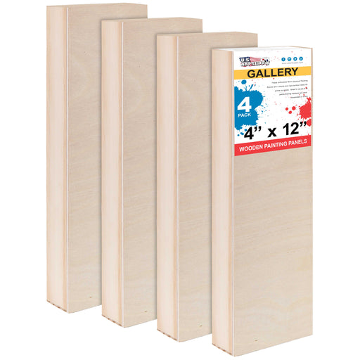 "4"" x 12"" Birch Wood Paint Pouring Panel Boards, Gallery 1-1/2"" Deep Cradle (Pack of 4) - Artist Depth Wooden Wall Canvases"