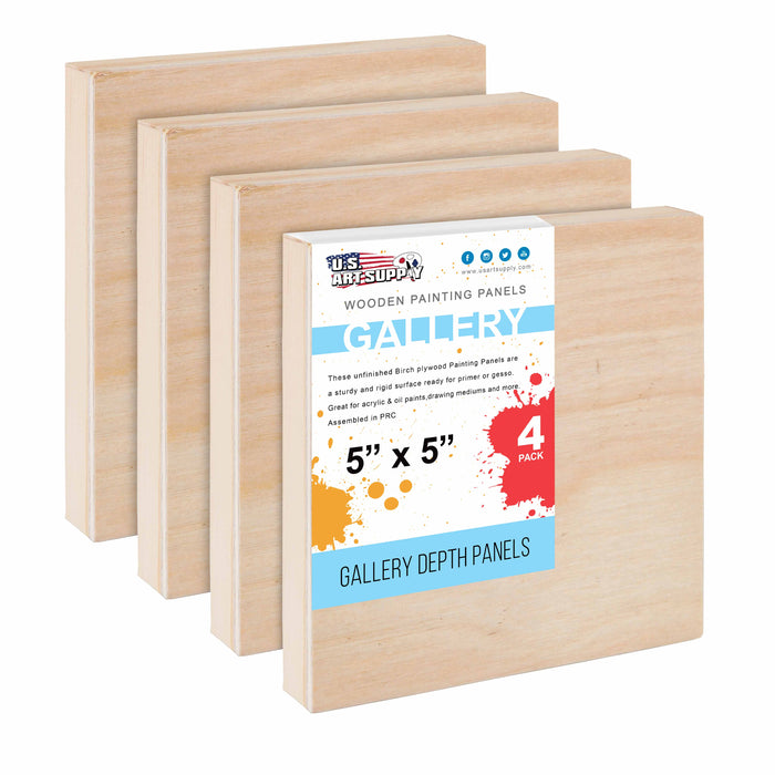 "5"" x 5"" Birch Wood Paint Pouring Panel Boards, Gallery 1-1/2"" Deep Cradle (Pack of 4) - Artist Depth Wooden Wall Canvases - Painting Mixed-Media Craft, Acrylic, Oil, Encaustic"