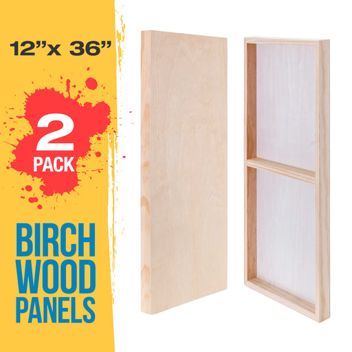 "12"" x 36"" Birch Wood Paint Pouring Panel Boards, Gallery 1-1/2"" Deep Cradle (Pack of 2) - Artist Depth Wooden Wall Canvases - Painting Mixed-Media Craft, Acrylic, Oil, Encaustic"
