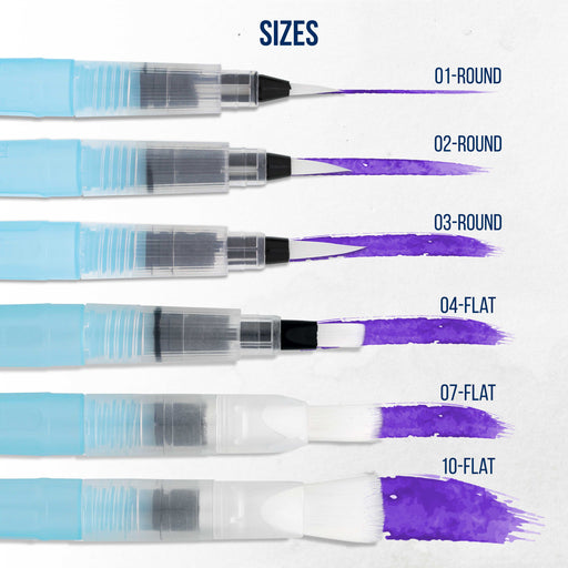6-Piece Water Coloring Brush Pen Set (Sizes - 01, 02, 03, 04, 07,& 10) - Refillable, Watercolor, Calligraphy, Painting