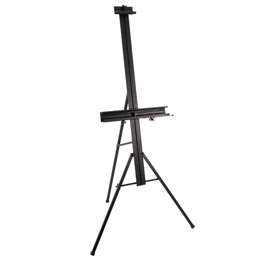 "Del Mar 69"" High Aluminum Single Mast Artists Studio Easel and Floor Display Stand - Professional Heavy Duty Adjustable Extra Large Canvas Height Up To 47"" - Palette Holder, Brush Rest"