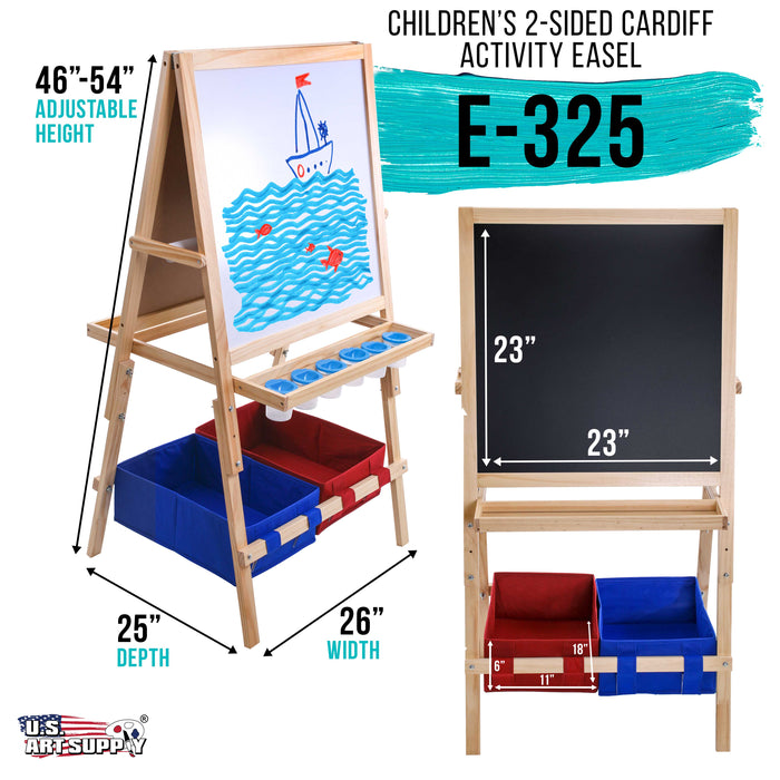 Children's Cardiff Double-Sided Art Activity Easel with Chalkboard, Dry Erase Board, Paper Roll, 6 No-Spill Cups, 2 Storage Bins, 2 Trays - Kids Learn to Paint, Draw, Write, Have Fun
