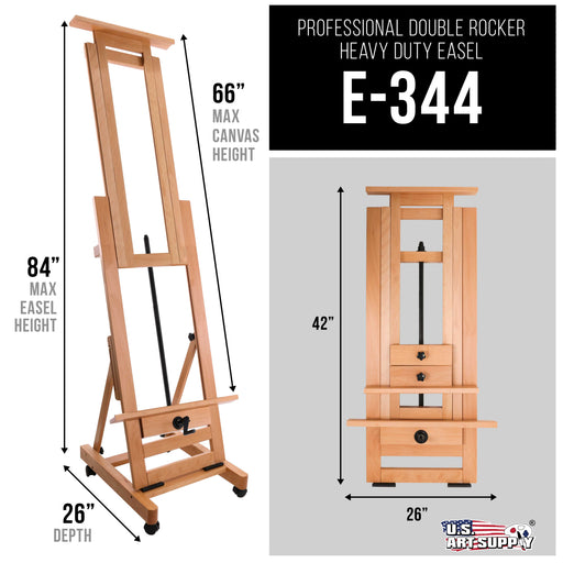 Double Rocker Crank Heavy Duty Extra Large Wooden Studio Floor Easel - Sturdy Double Mast Adjustable H-Frame - Beech Wood Artist Painting Canvas Holder Stand - Locking Caster Wheels