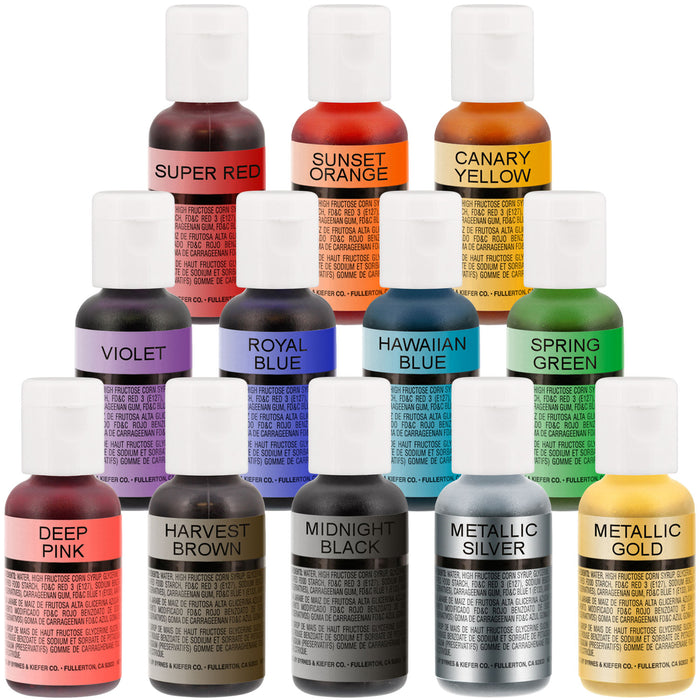 Complete Cake Decorating Airbrush Kit with a Full Selection of 12 Vivid Airbrush Food Colors