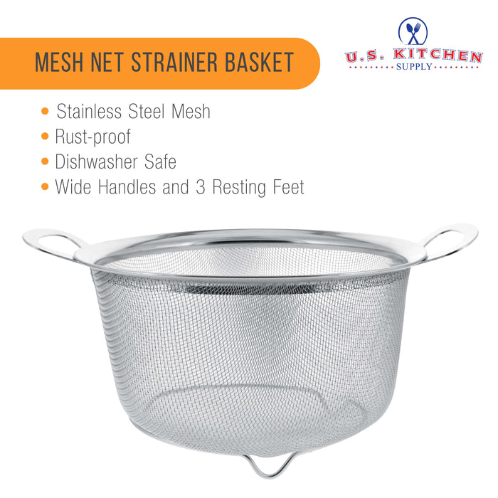 3 Quart Stainless Steel Mesh Net Strainer Basket with a Wide Rim, Resting Feet and Handles - Colander to Strain, Rinse, Fry, Steam or Cook Vegetables & Pasta