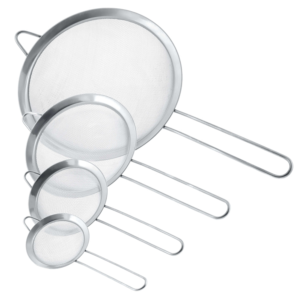 "U.S. Kitchen Supply - Set of 4 Premium Quality Fine Mesh Stainless Steel Strainers - 3"", 4"", 5.5"" and 8"" Sizes"
