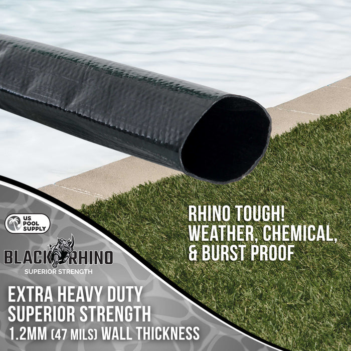 "Black Rhino 2"" x 100' Pool Backwash Hose with Hose Clamp - Extra Heavy Duty Superior Strength, Thick 1.2mm (47 mils) - Weather Burst Resistant - Drain Clean Swimming Pools and Filters"