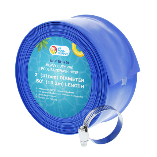 "2"" x 50' Heavy Duty Blue PVC Swimming Pool Backwash Hose with Hose Clamp"