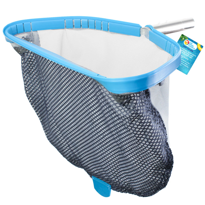 "Heavy Duty 18"" Swimming Pool Leaf Skimmer Rake with Deep Double-Stitched Net Bag - Strong Aluminum Frame"