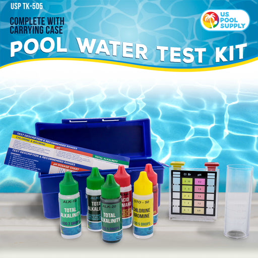 U.S. Pool Supply Premium 5-Way Swimming Pool & Spa Test Kit - Tests Water for pH, Chlorine, Bromine, Alkalinity, Acid Demand, Maintain Chemical Levels