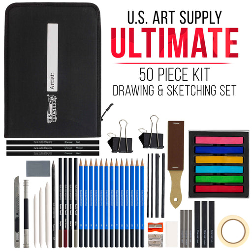 50-Piece Drawing & Sketching Art Set, Ultimate Artist Kit, Graphite and Charcoal Pencils & Sticks, Pastels, Zippered Pop-Up Carry Case
