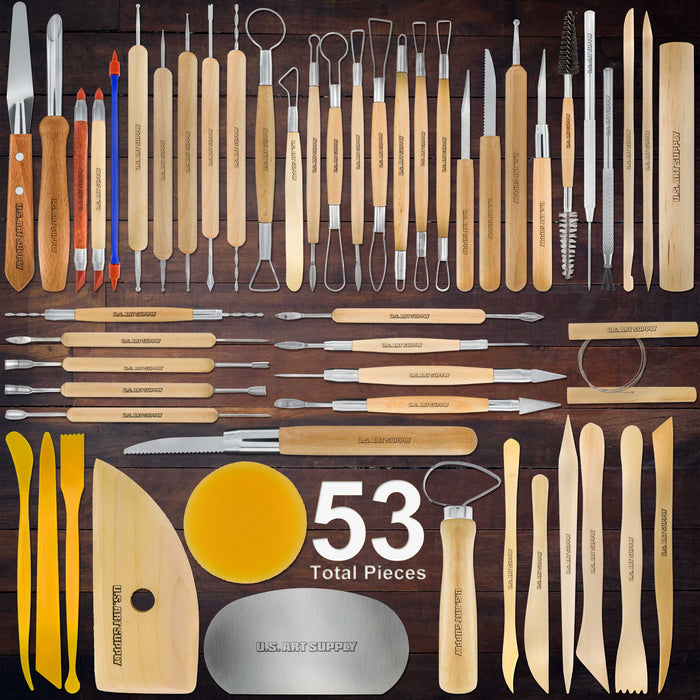 53 Piece Pottery & Clay Sculpting Tool Set with Hard Plastic Storage Box