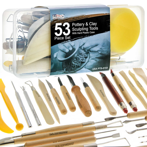 U.S. Art Supply 53 Piece Pottery & Clay Sculpting Tool Set with Hard Plastic Storage Box