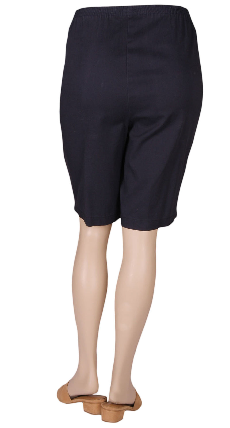 Cafe Navy Stretch Cotton Pull-On Shorts