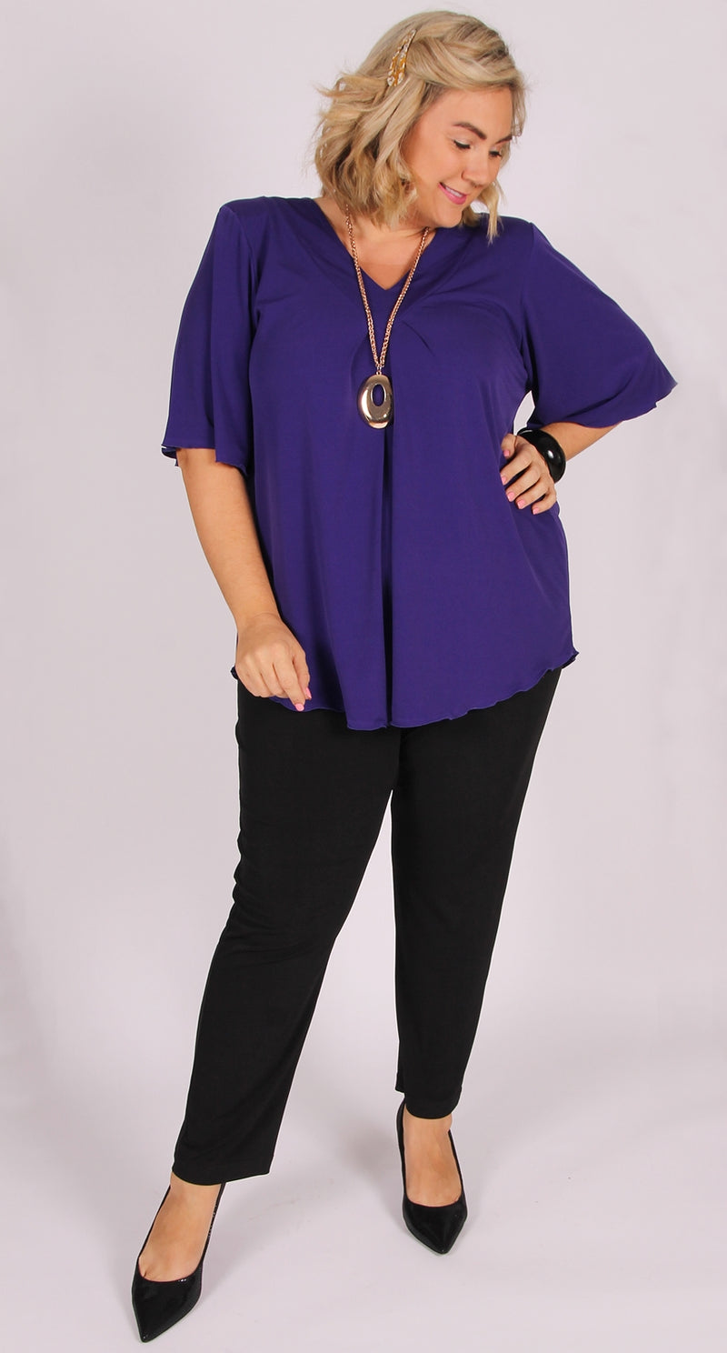 Bella V-Neck Top Regal Purple
