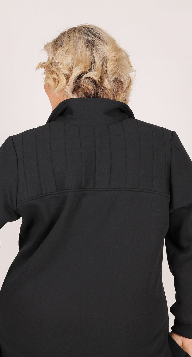 Super Fleece Zip Tab Top Black