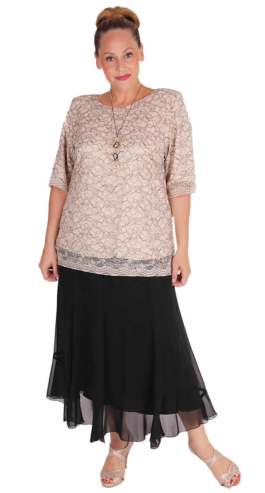 Karl Joseph Lined Chiffon Eight Gored Skirt Black