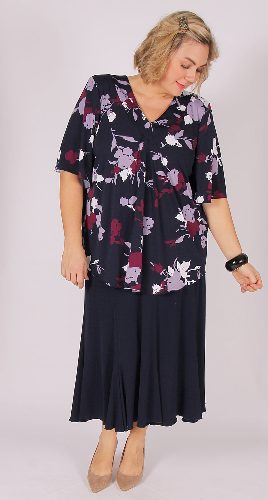 Flare and Fit Eight Gore Skirt Navy