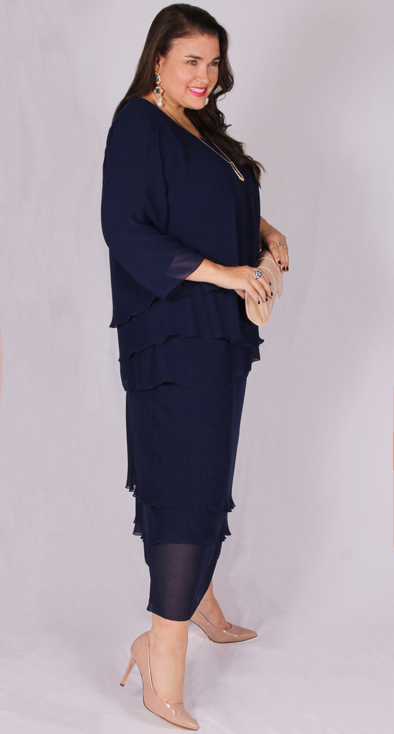 Rosaline Chiffon Layer Skirt Navy