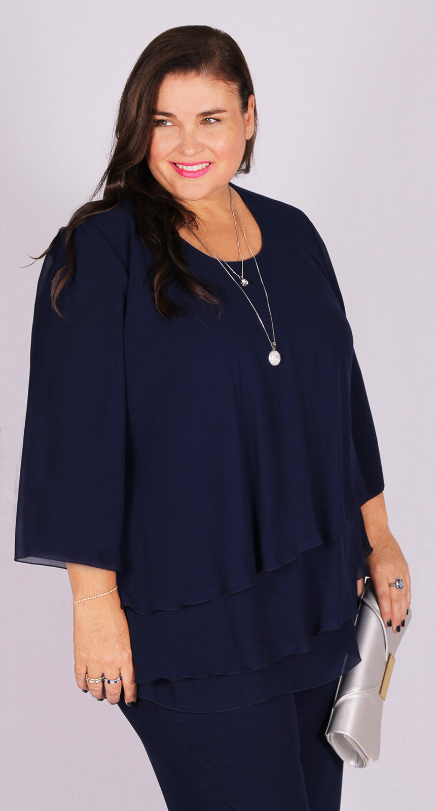 Rosaline Chiffon Layer Top Navy