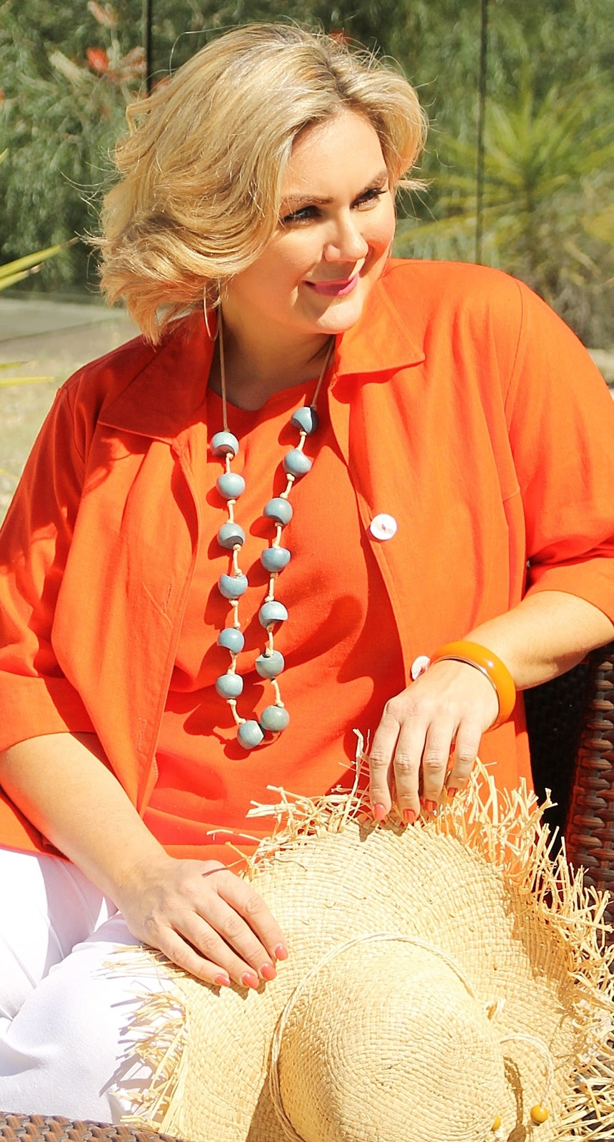 Relaxed Linen Blend Jacket Orange